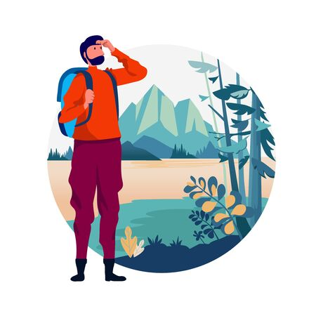 Backpacker travel adventure concept. outdoor vacation recreation in nature theme of hiking, climbing, trekking. vector illustration. Flat cartoon character graphic design. Landing page template.
