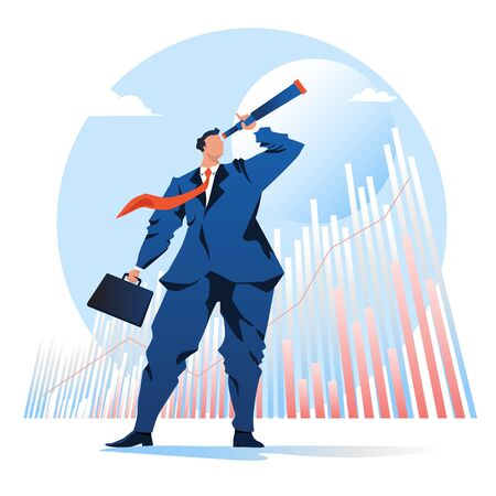 vision of business. businessman looking telescope with a graph stock background. vector illustration. Flat cartoon character graphic design.