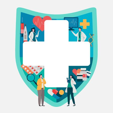 Patient consultation to the doctor. Health care concept, Medical team. Healthy Application. Flat vector illustration modern character design. Çizim