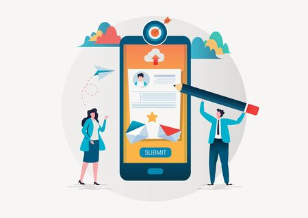 People fill out a form via mobile application. Online application. Flat vector illustration modern character design. For landing page, banner, flyer, poster or web page.