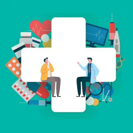 Patient consultation to the doctor. Health care concept, Medical team. Healthy Application. Flat vector illustration modern character design. Stock Illustratie