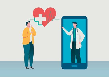 People consultation to the doctor. Online diagnosis. Online hospital health care concept, Medical team. Healthy Application. Flat vector illustration modern character design.