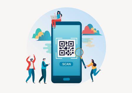 QR code scanning. People scan qr code for payment via smartphone. Flat vector illustration modern character design for a landing page, banner, flyer, poster, web page. Çizim