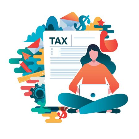 Concetto di pagamento delle tasse online, persone che compilano il modulo fiscale del modulo di domanda. Illustrazione vettoriale piatto. design grafico del personaggio dei cartoni animati. Vettoriali