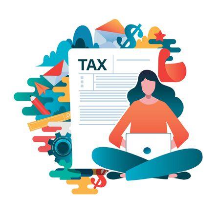 Online tax payment concept, people filling application form tax form. Flat vector illustration. cartoon character graphic design. Illusztráció