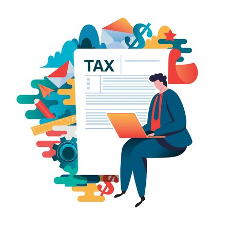 Online tax payment concept, people filling application form tax form. Flat vector illustration. cartoon character graphic design. Stock Illustratie