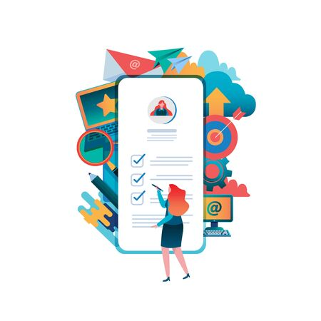 People fill out a form. Online application. Women, Female Flat cartoon character graphic design. Landing page,banner,flyer,poster,web page