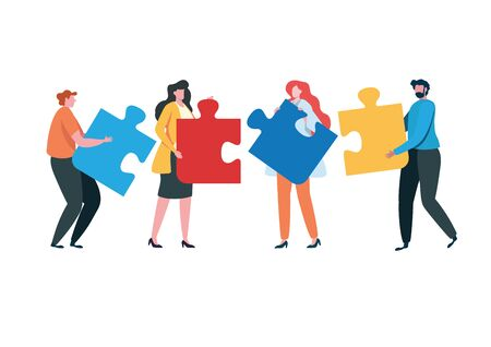 Teamwork successful together concept. Marketing content. Business People Holding the big jigsaw puzzle piece. Flat cartoon illustration vector graphic design on white background. Landing page template Stock Illustratie