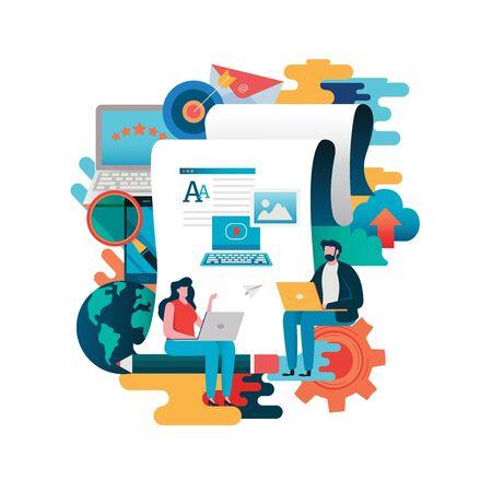 Blogging, Blogger. Freelance. Creative writing. Copywriter. Content management, Job, Journalist. Flat cartoon character illustration vector graphic. flat style background.