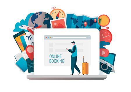 Online booking, Online Ticket, book flight, buying tickets online. Travel concept. Flat vector illustration modern design.  Mobile Application, Web check in, Online hotel. Çizim