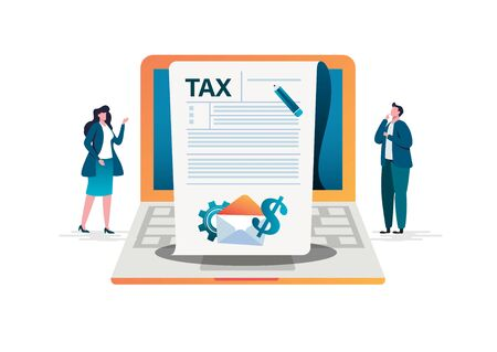 Online tax payment concept, people filling application form tax form. Flat vector illustration. cartoon character graphic design. Landing page template Çizim