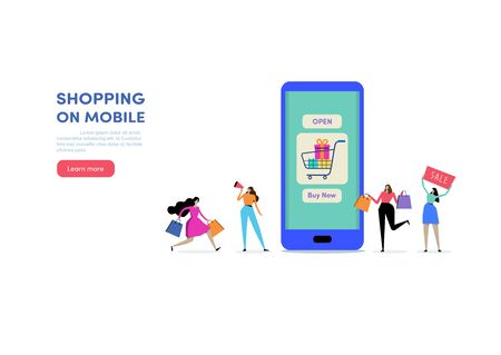 Shopping online. Shop on mobile. People vector illustration. Flat cartoon character graphic design. Landing page template