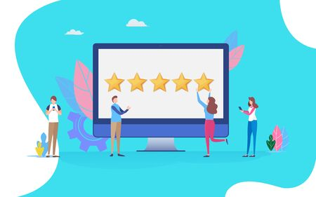 User giving five star rating. feedback review scroll. People vector illustration. Flat cartoon character graphic design. Landing page template Stock Illustratie