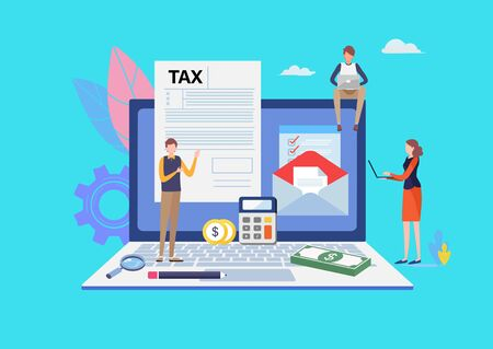 Online Tax payment. Filling tax form. Business concept. People vector illustration. Flat cartoon character graphic design. Landing page template ,banner ,flyer, poster, web page