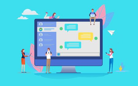 Group of people use social media online chatting application. People vector illustration. Flat cartoon character graphic design. Landing page template
