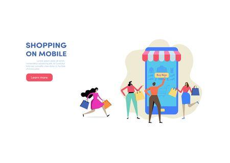 Shopping online via Smartphone. Shop on mobile. E-commerce, Consumerism, Retail, Sale. People vector illustration. Flat cartoon character graphic design. Landing page template Çizim