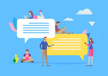 Young people chatting in social media via smartphone and laptop. Speech bubble message. vector illustration. Flat cartoon character graphic design. Landing page template,banner,flyer,poster,web page