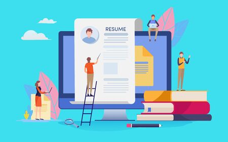 Online Recruitment. Human resource. People vector illustration. Flat cartoon character graphic design. Landing page template