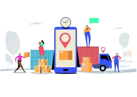 Online delivery service concept, Order, Cargo, Mobile App, GPS Tracking Service. Worldwide Logistic Delivery.  Flat cartoon character graphic design. Landing page Ilustração