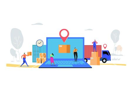 Online delivery service concept, Order, Cargo, Mobile App, GPS Tracking Service. Worldwide Logistic Delivery.  Flat cartoon character graphic design.