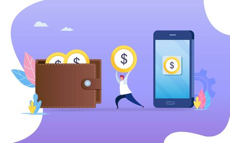 People transfer money from smartphone to wallet. Flat cartoon character graphic design. Landing page template,banner,flyer,poster,web page