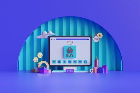 Shopping on-line. Online store on website or mobile application. 3d rendering background. digital marketing shop concept. Stok Fotoğraf