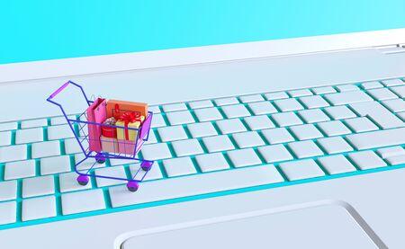 Shopping on-line online store on website mobile application 3d rendering Stok Fotoğraf