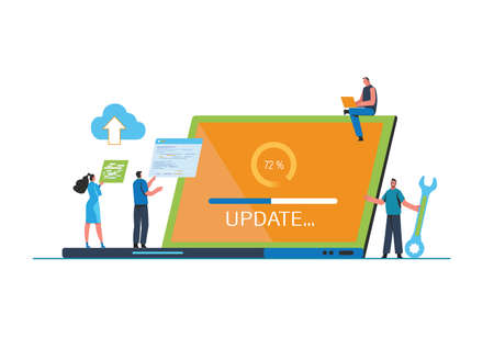 System updates with people updating operation in computing and installation programs. Flat vector illustration modern character design. For a landing page, banner, flyer, poster, web page. Çizim