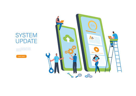System updates with people updating operation in computing and installation programs. Flat vector illustration modern character design. For a landing page, banner, flyer, poster, web page. Stock Illustratie