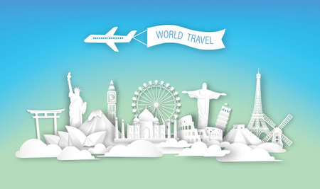 World travel landmarks architecture  of Europe, Asia and America in paper cut art style vector illustration background. brochure,flyer,landing page.