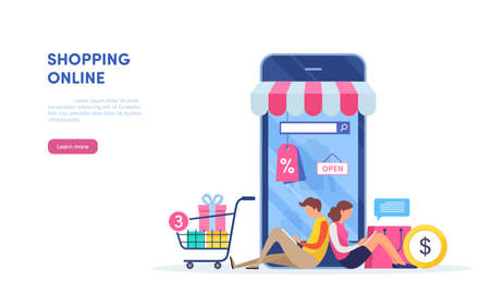 Shopping on mobile. Online store. internet marketing. Online payment. Flat cartoon miniature  illustration vector graphic on white background. 向量圖像