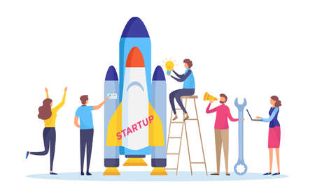 Startup the project. Boost your business concept. Business people's launch the rocket. Flat cartoon miniature  illustration vector graphic on white background. 向量圖像