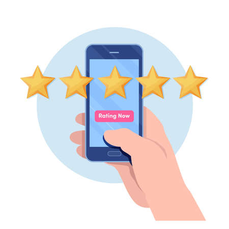 Customer giving five star rating by smartphone application. User feedback review scroll. Cartoon illustration vector graphic on white background.