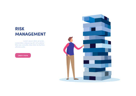 People gambling placing block stack. Business concept of Risk management. Çizim