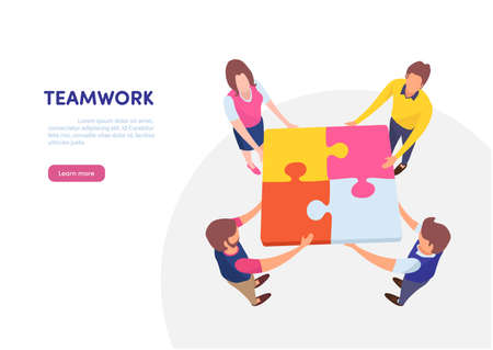 Teamwork successful together concept. Marketing content. Business People Holding the big jigsaw puzzle piece. Flat cartoon illustration vector graphic design on white background. Landing page template Çizim