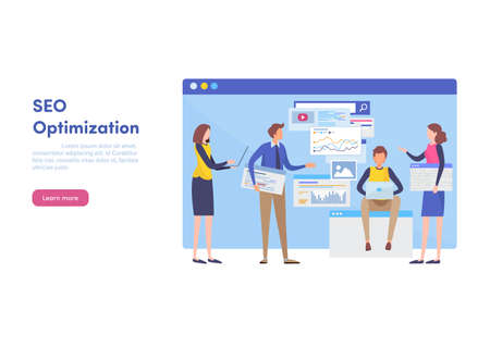 Website SEO optimization, Internet marketing, Landing page template for website for programming. Web design banner. Search Engine tools. Flat cartoon illustration vector graphic on white background. Stock Illustratie
