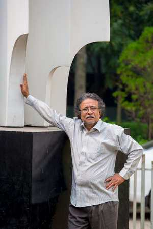 Bangladesh – October 18, 2016: Delwar Jahan Jhantu standing on a Liberation war monument at BFDC, Dhaka. Sajtókép