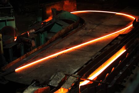 The steel bar and rod rolling mill in the steel mill at Demra, Dhaka, Bangladesh.