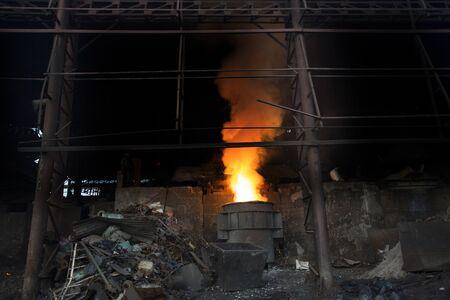 Blast furnace in the melt steel works in Demra, Dhaka, Bangladesh.