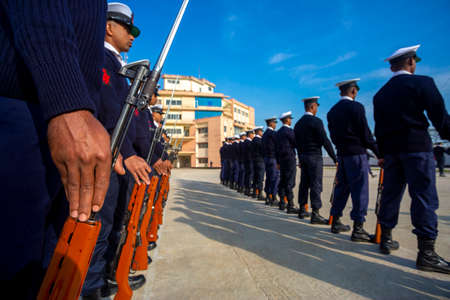Chittagong, Bangladesh - January 13, 2019: Some of the young trained soldiers are exercising on Bangladesh Coast Guard (BCG) territory during the early morning. Editorial