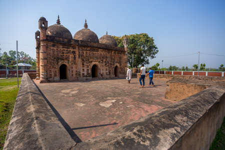Bangladesh – March 2, 2019: Nayabad Mosque Wide Angle views, is located in Nayabad village in Kaharole Upazila of Dinajpur District, Bangladesh.