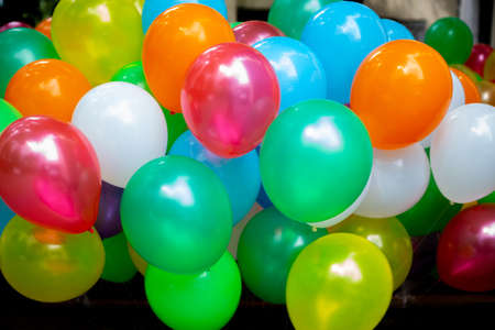 A lot of colorful balloons close-up views. Balloons of many colours. Colorful balloons background. Banque d'images