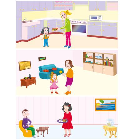 bring: bring food Illustration