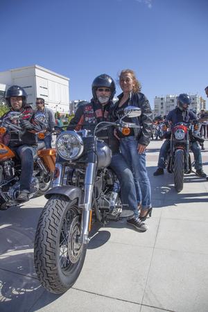 Antalya, Turkey - May 21, 2017: Antalya, Harley Davidson motor convoys on the road. Festival name is Antalya Rally, Demo Truck.