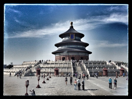 supplication: Temple of Heaven. Monumental supplication eternal glory Stock Photo