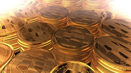 Moneda de oro neo render 3d Foto de archivo - 97470858