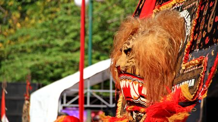 Pekalongan,Central JavaIndonesia - 6 October April 2019 : participants parade in puppet costumes while in action, Reog Ponorogo player Redakční