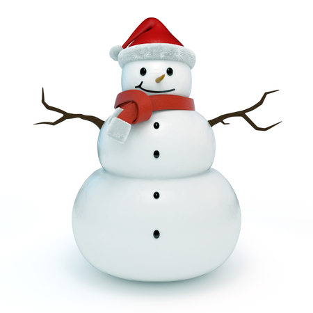 3d snowman character, isolated photo