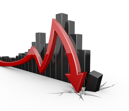 stock price: red arrow bad statistics Stock Photo