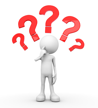 3d minimalistic human - questionmarks Stok Fotoğraf